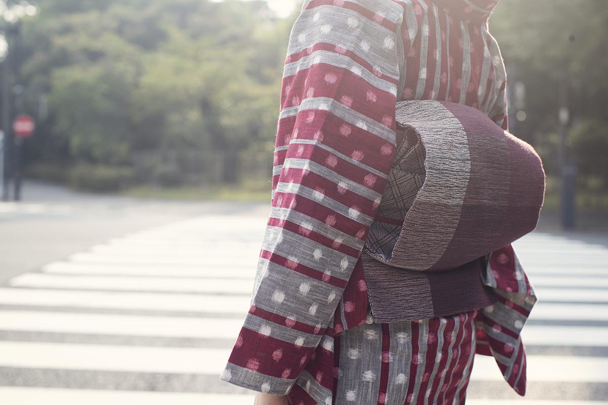 きもの:久留米絣  / dot stripe red / 木綿