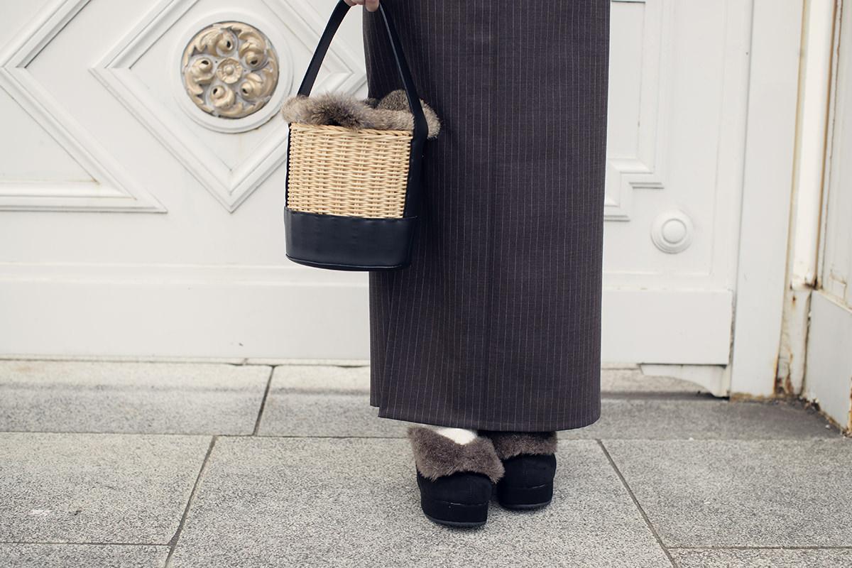 きもの:ピンストライプスーツきもの / brown / ウール
