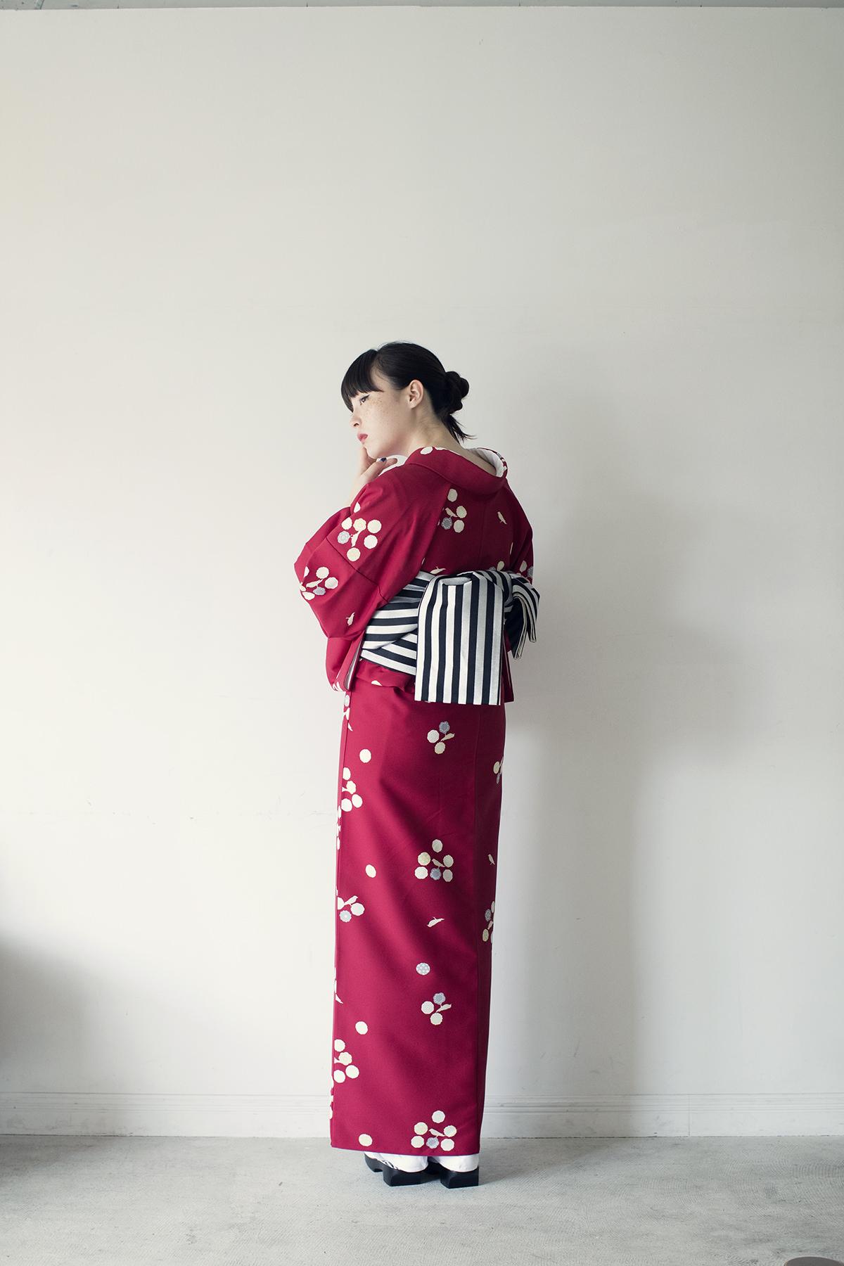 きもの:NADESHIKO BASICきもの / bird red / ポリエステル
