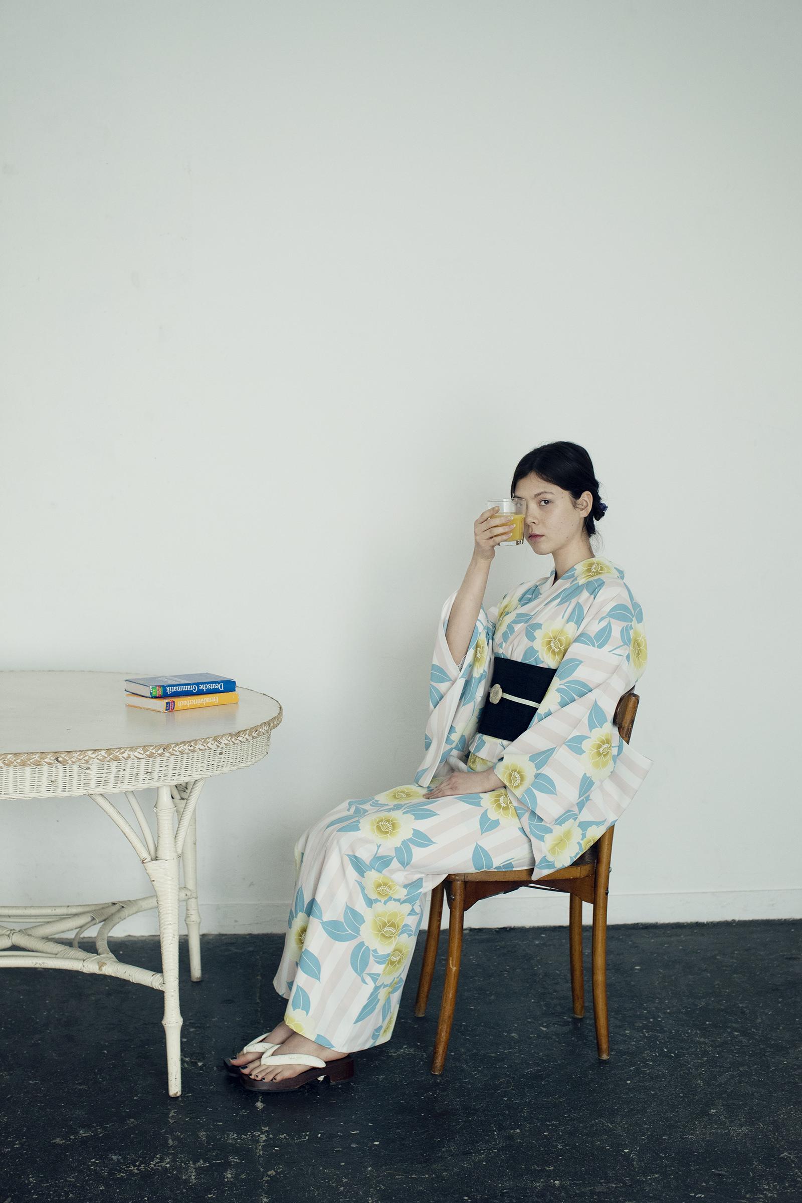 洗えるゆかた / 桜花ストライプピンク / ポリエステル