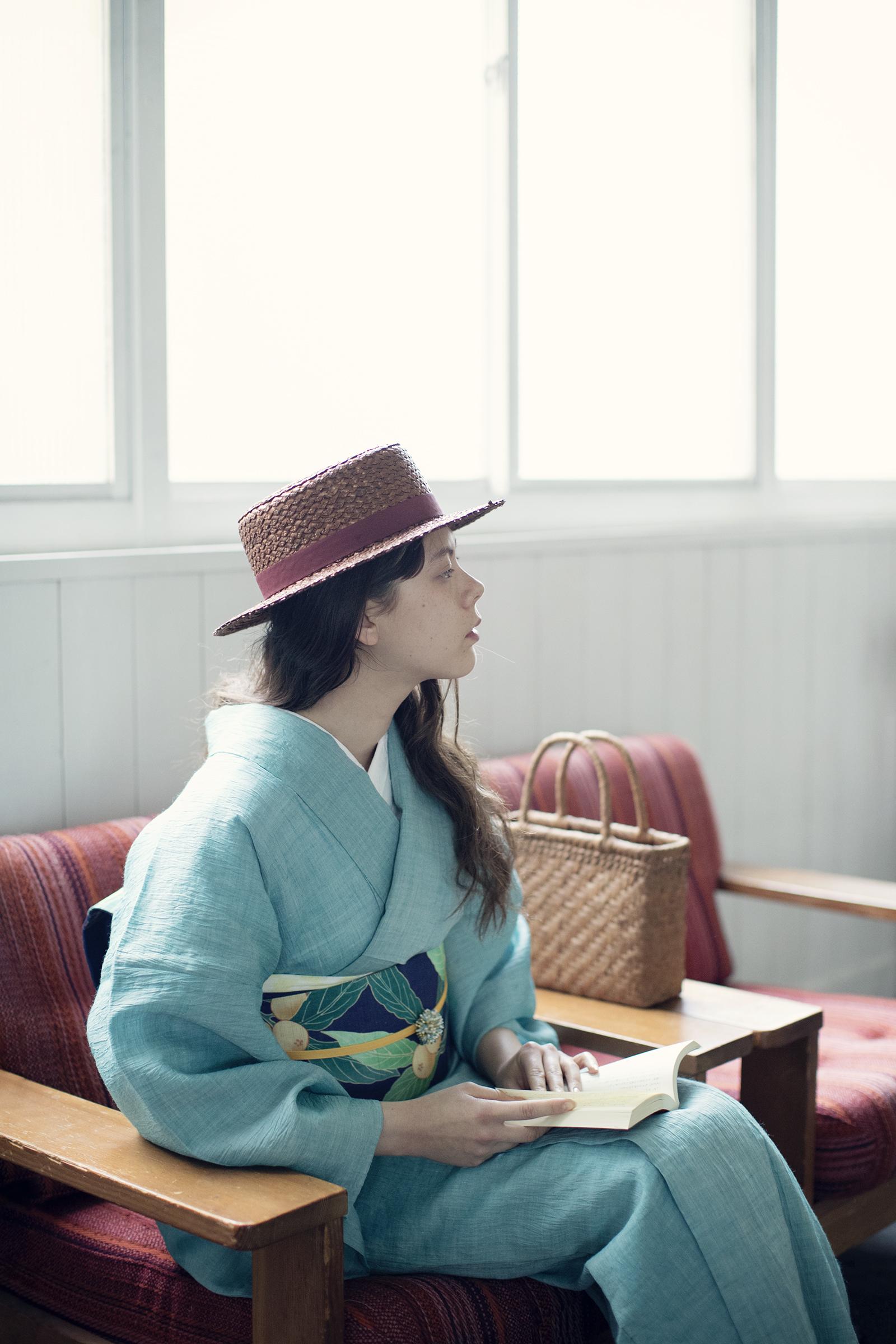 近江ちぢみ(麻竹) / カワセミグリーン / 麻